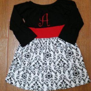 Black & Red Damask Dress Set