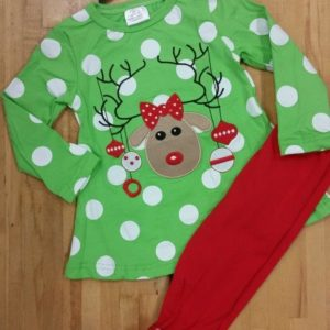 Green & Red Reindeer Pant Set