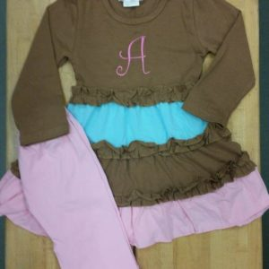 Teal, Pink & Brown Dress & Pant Set