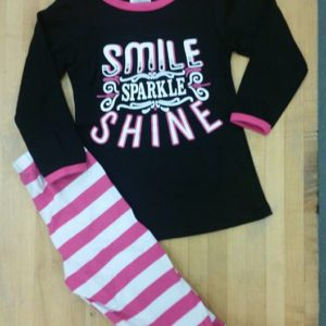 Black & Pink Smile, Sparkle, Shine Legging Set