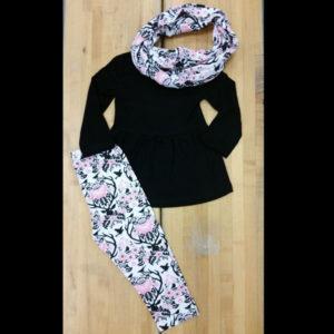 Black & Pink Long Sleeve Scarf Legging Set
