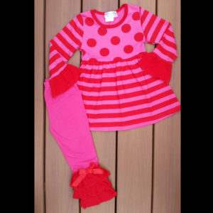 Valentines or Anytime - Hot Pink & Red Polka Dot Stripes Legging Set