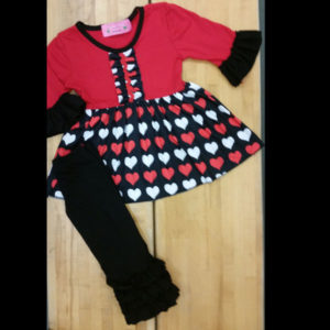 Valentines or Anytime Red & Black Dress & Legging Set