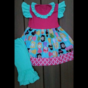 Hot Pink & Teal Princess Flutter Dress & Capris