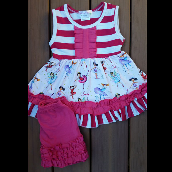 Hot Pink Striped Ballerina Dancer Dress & Short Set