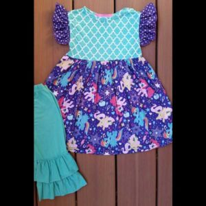 Purple Pony Dress & Capri Set