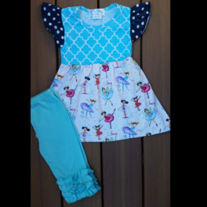 Teal Ballerina Dancer Dress & Capri Set