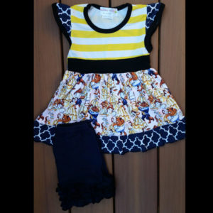 Yellow Striped Beauty Dress & Short Set
