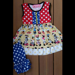 Red, Yellow & Blue Mouse Dress & Shorts Set