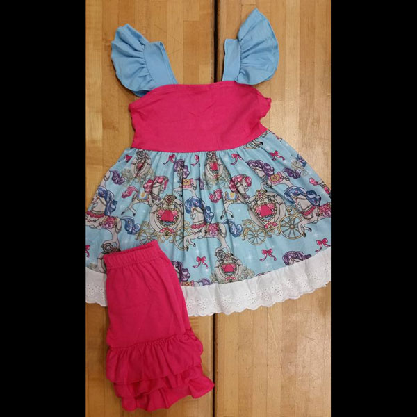 Hot Pink & Baby Blue Carriage Shorts Set