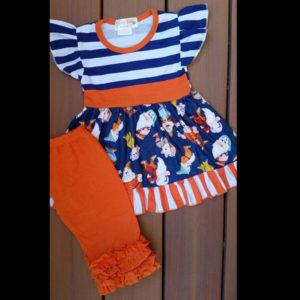 Orange & Navy Dwarf Capri Set
