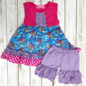 Hot Pink & Purple Shimmer & Shine Shorts Set