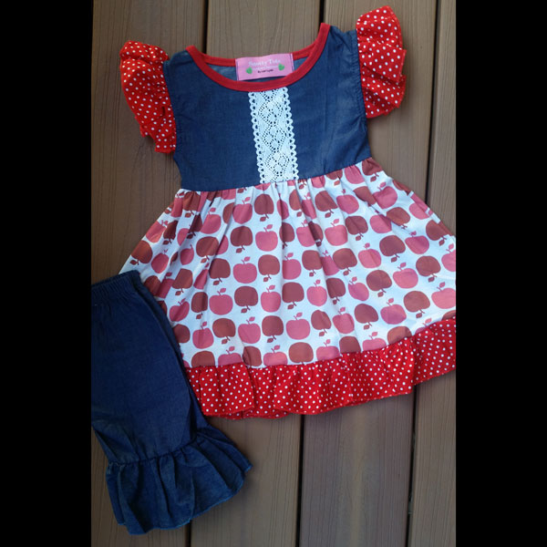 Denim & Red Apple Capri Set