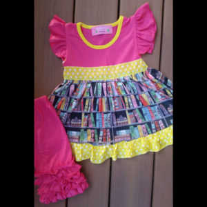 Hot Pink & Yellow Book Capri Set