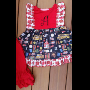 Red & Black School House Capri Set