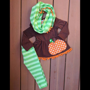 Long Sleeve Brown Pumpkin Dress, Legging, & Scarf Set