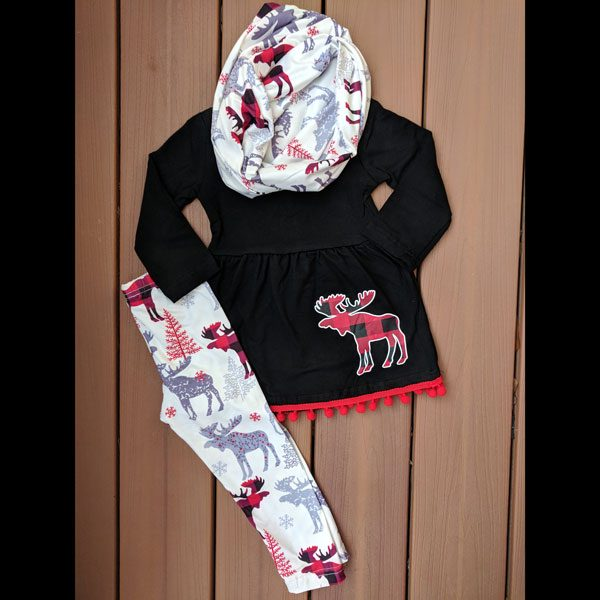 Black and Plaid Moose Tunic Leggings and Scarf