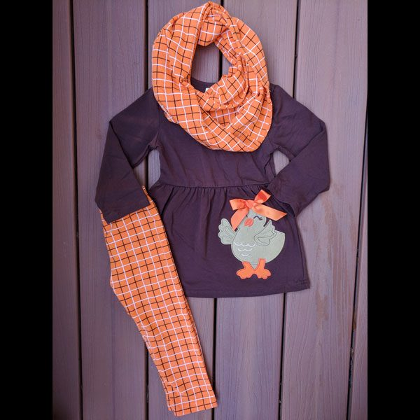 Brown and Orange Chick Tunic Leggings and Scarf
