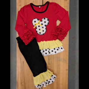 Red Minnie Applique Pants Set