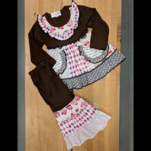 Brown & Pink Cupcake Dress & Wide Leg Pants Set