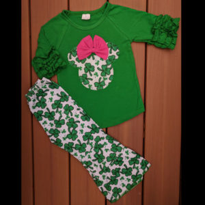Green & Hot Pink Minnie Raglan & Shamrock Wide Leg Pants