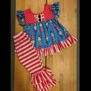 Red Stripe Dr Seuss Triple Ruffle Pants Set