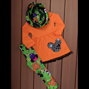 Orange & Black Mickey Halloween Tunic Legging & Scarf Set