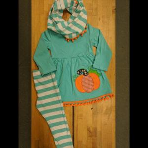 Teal Striped Orange Pumpkin Scarf & Leggings Set