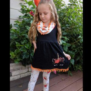 Black Pumpkin Unicorn Scarf & Legging Set