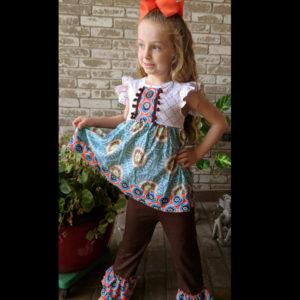 Short Sleeve Teal & Brown Fall Dress & Pant Set
