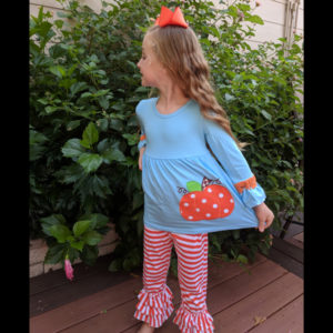 Teal Pumpkin Tunic With Orange & White Striped Pants