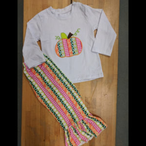 White & Colorful Striped Pumpkin Pant Set