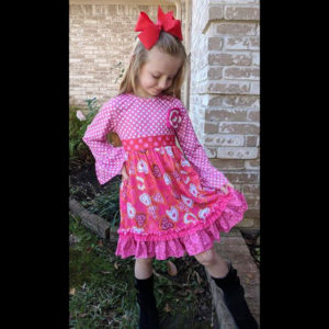 Hot Pink Polka Dot Heart Full Length Dress