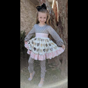 Long Sleeve Grey & Pale Pink Heart Twirl With Polka Dot Leggings