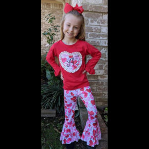 Long Sleeve Red Heart Wide Leg Pant Set