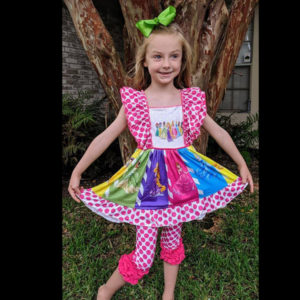 Hot Pink Polka Dot Disney Princess Twirl With Matching Icing Capri Pants