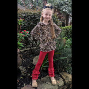 Leopard Ruffle Pullover With Wine Colored Triple Ruffle Pants