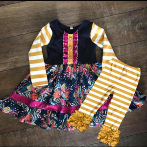 Navy & Mustard Floral Twirl With Mustard & White Icing Leggings