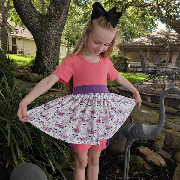 Pink & Purple Unicorn Tunic Twirl Paired With Matching Shorts