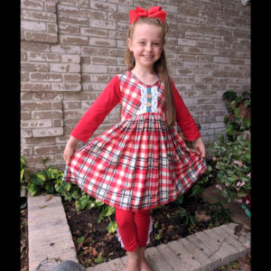 Red & Green Plaid Super Twirl Dress With Red Leggings & Matching Bow