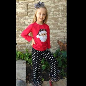 Red & Black Polka Dot Santa Pant Set With Matching Bow