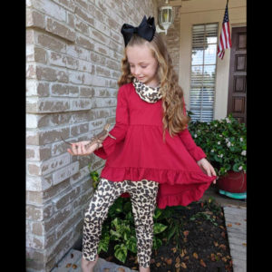 Wine High Low Tunic Paired With Leopard Leggings & Matching Scarf
